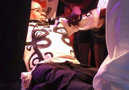 Papa Wemba after collapsing on a stage in Abidjan