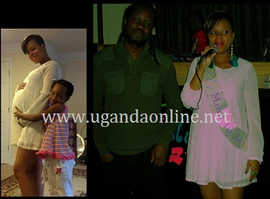 Beata holding the mom's tummy and Zuena thanking all those behind her baby shower as Bebe Looked on