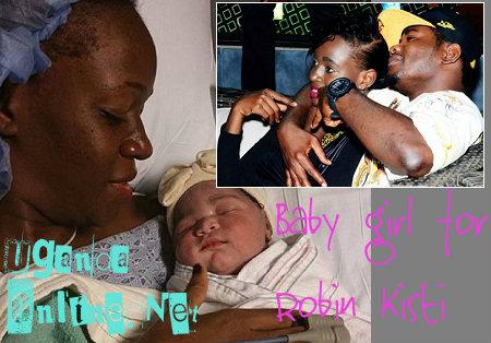 Robin Kisti after delivering her newborn baby