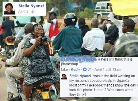 Stella Nyanzi working on her research