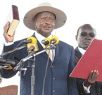President Museveni being sworn in for the forth term