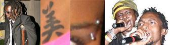 Buchaman's Crutch, Helen's under belly tatto, Juliana's eye pin and the Moze Radio's Dreads