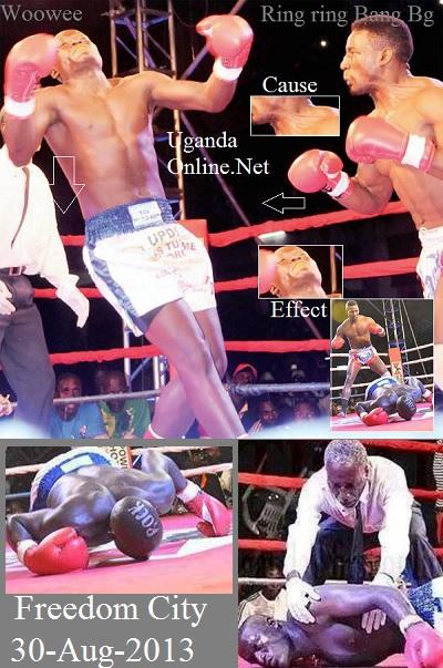 Moses Golola knocking out UPDF's Titus Tugume