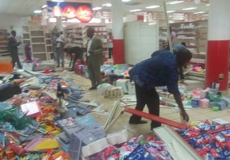 some of the destroyed property at Uchumi Supermarket