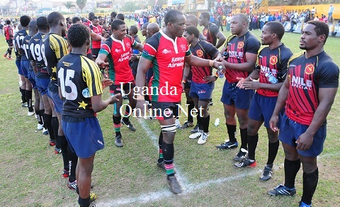 The Uganda Cranes team meets the Kenyan Rugby team