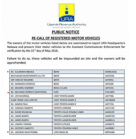 URA re-calls registered motor vehicles