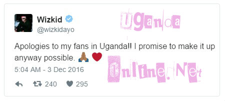 WizKid apologizes to Ugandans