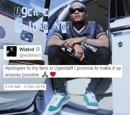 Wizkid fails to make it to Kampala