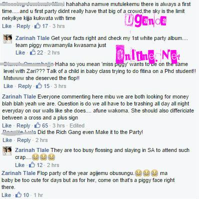 Screenshot of Zari's responses