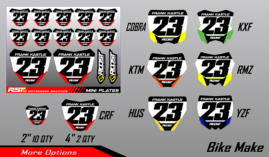 Roost Mx Motocross Graphics Mini Plates Numbers