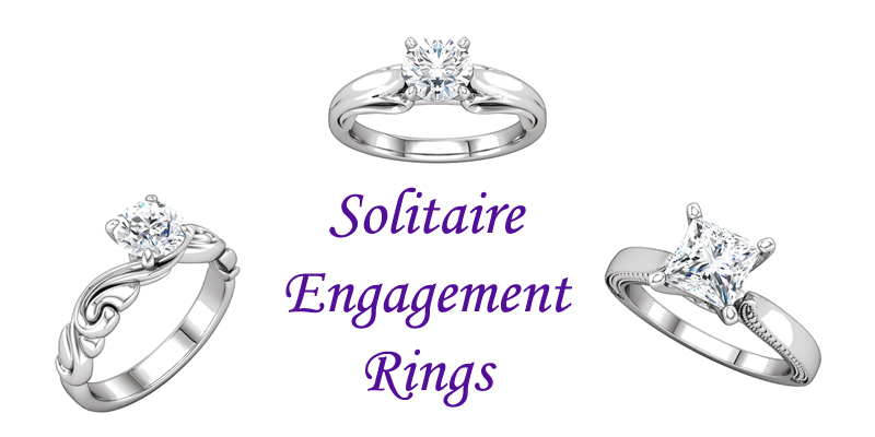 solitaire engagement rings chicago with no side stones