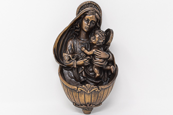 Madonna and Child Bronze Font.