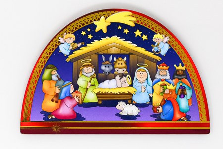 Christmas Nativity Wooden Plaque.