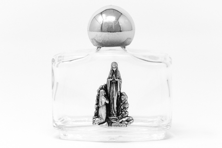 Lourdes Water Bottle with Rose Top.