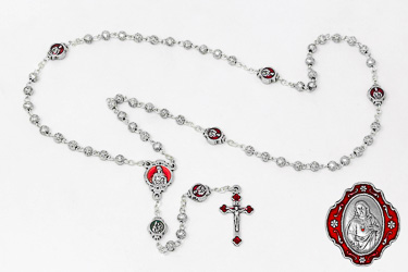 Metal Sacred Heart of Jesus Rosary.