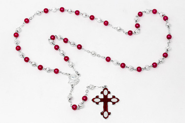 Red Lourdes Rosary.
