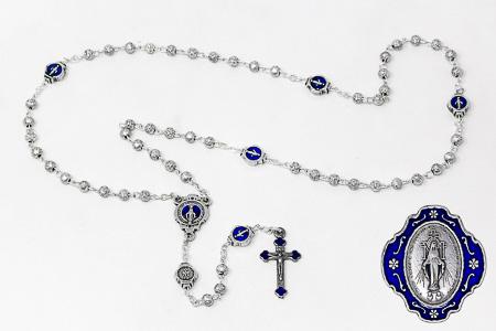 Blue Metal Miraculous Rosary.