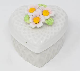Porcelain Heart Rosary Box.