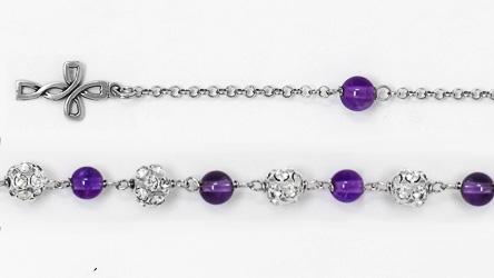 Amethyst Crystal Rosary Bracelet