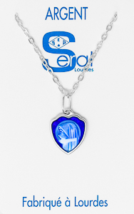 Our Lady of Lourdes Heart Necklace