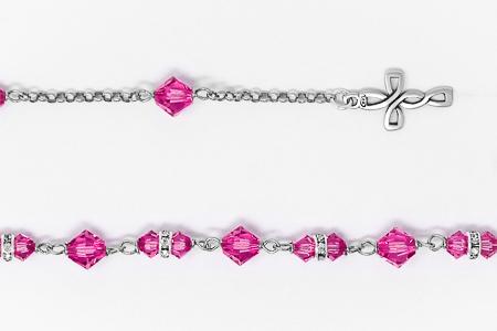 Pink Swarovski Crystal Rosary Bracelet.