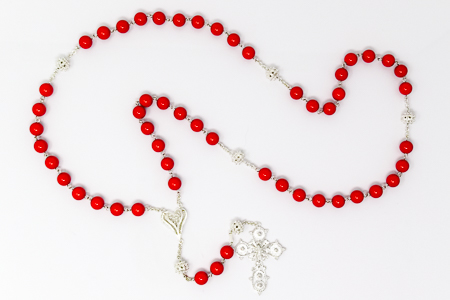 925 Sterling Silver Coral Rosary Beads.