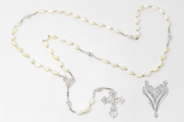 Sterling Silver Mother of Pearl Rosary.