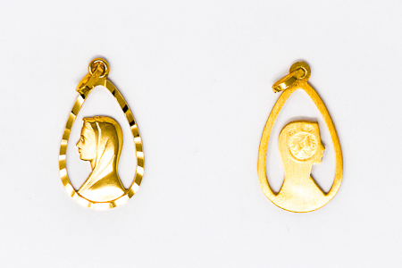 9 & 18 kt Gold Our Lady of Lourdes Pendant.