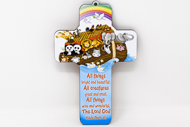 All Creatures Great & Small Wood Cross.