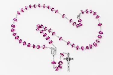Amethyst Rose Metal Rosary.