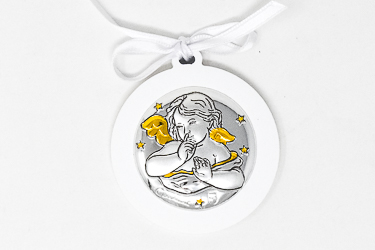 Angel Silver Plated Crib Medal .