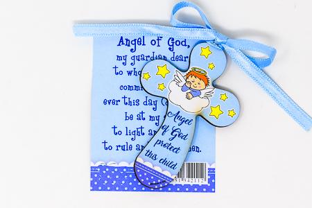 Blue Guardian Angel Wood Cross..