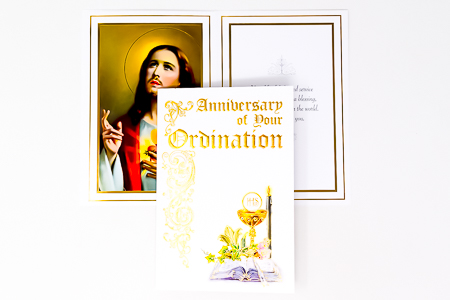 Parchment Anniversary Ordination Card.