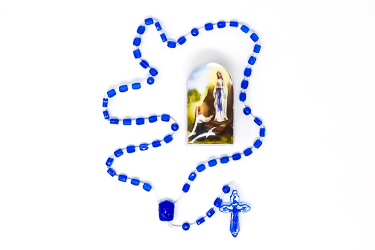 Apparition Blue Plastic Rosary.