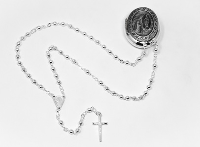 Apparition medal rosary box & Rosary Beads.