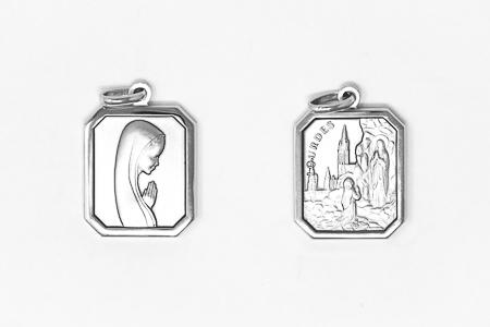 Lourdes Double Faced Silver Pendant.