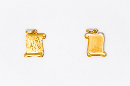 9 kt and 18 kt Gold Apparition Scroll Pendant.