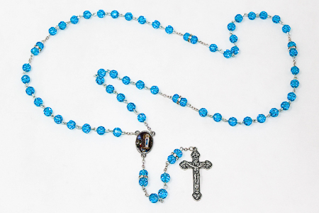 Aqua Crystal Rosary Beads.