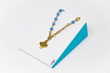 Fidei Gold Plated Blue Bracelet.