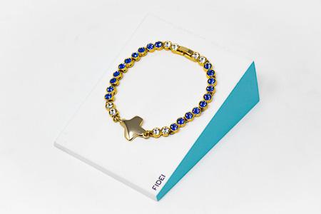 Blue Swarovski Cross Bracelet.