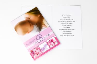 Baby Girls Baptism Card.