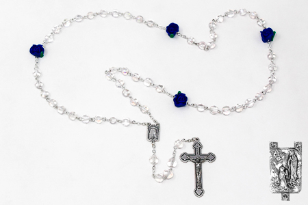 Rose Crystal Apparition Rosary Beads.