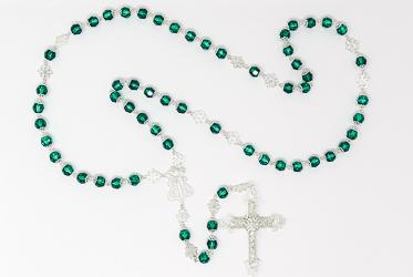 Green Swarovski Rosary Beads.