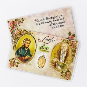 Lourdes Prayer Card with a Miraculous Medal.
