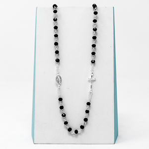Black Miraculous Rosary Necklace..