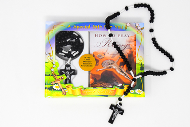 Black Corded Wooden Rosary.