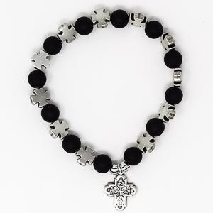 Black Cross Bracelet with Pendant.