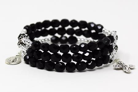Black Crystal Memory Wire Rosary Bracelet