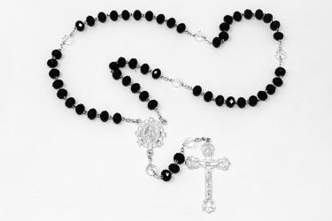 Black Crystal Rosary Beads.