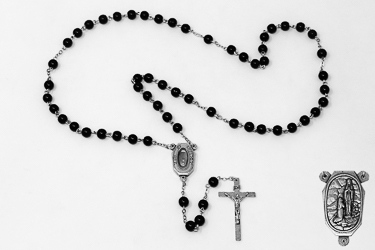 Lourdes Water Glass Rosary Beads
